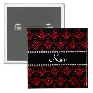 Personalized name red glitter damask 15 cm square badge