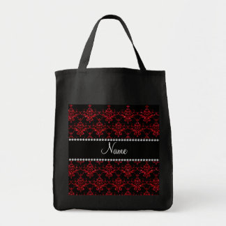Personalized name red glitter damask bags