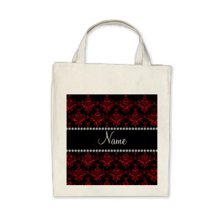 Personalized name red glitter damask tote bags