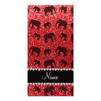 Personalized name red glitter elephants picture card