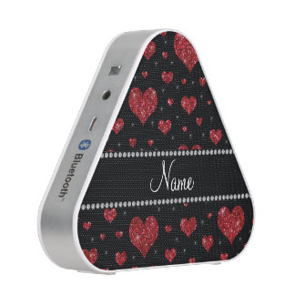 Personalized name red glitter hearts