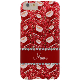Personalized name red glitter santas barely there iPhone 6 plus case