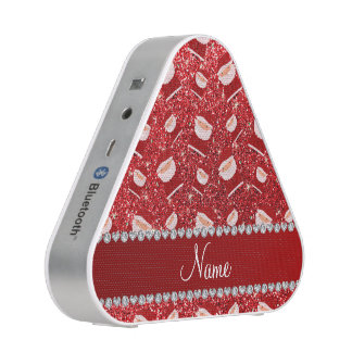 Personalized name red glitter santas speaker