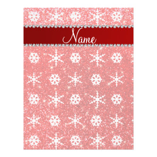 Personalized name red glitter white snowflakes flyer design