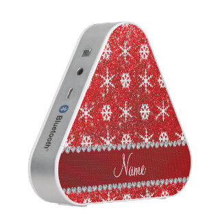 Personalized name red glitter white snowflakes bluetooth speaker