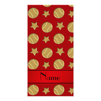 Personalized name red gold baseballs stars photo card