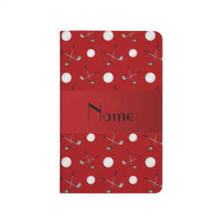 Personalized name red golf balls journal