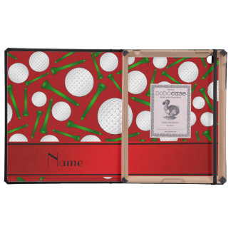 Personalized name red golf balls tees iPad folio case