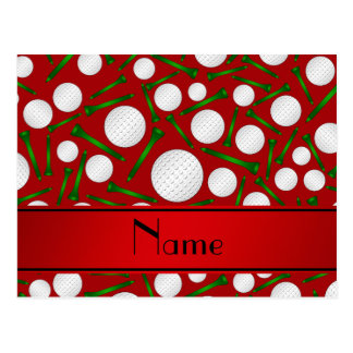 Personalized name red golf balls tees post cards