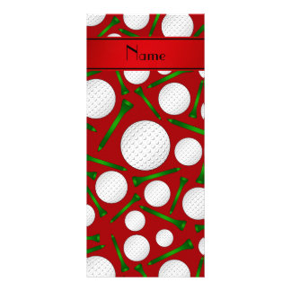 Personalized name red golf balls tees custom rack cards