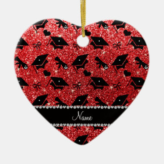 Personalized name red graduation hearts bows ceramic heart decoration