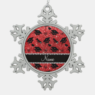 Personalized name red graduation hearts bows pewter snowflake decoration