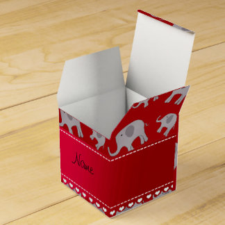 Personalized name red grey elephants favour box