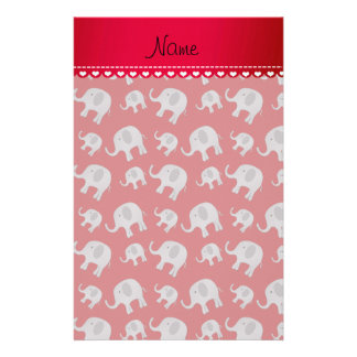 Personalized name red grey elephants stationery