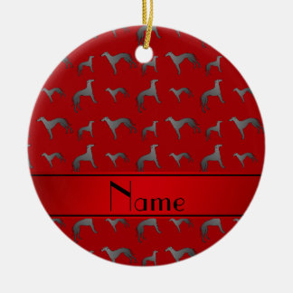 Personalized name red Greyhound dogs Round Ceramic Decoration