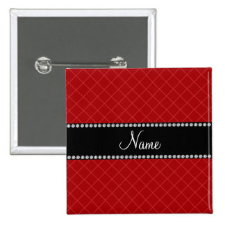 Personalized name red grid pattern 15 cm square badge