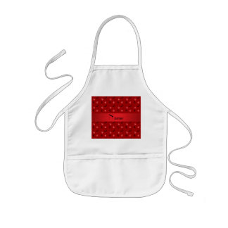 Personalized name red guitar pattern apron