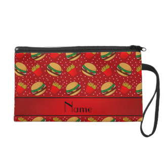 Personalized name red hamburgers fries dots wristlet clutches