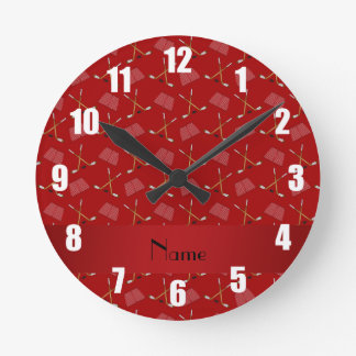 Personalized name red hockey pattern round clock