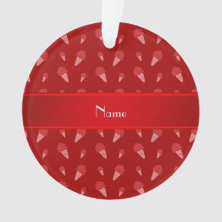 Personalized name red ice cream pattern ornament