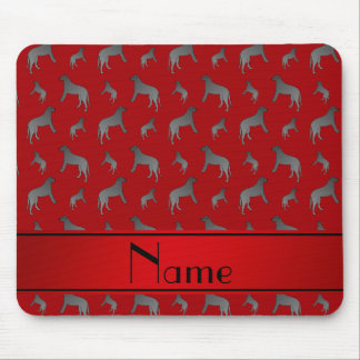 Personalized name red Irish wolfhound dogs Mouse Pad