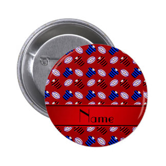 Personalized name red jerseys rugby balls buttons