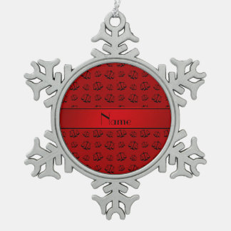 Personalized name red justice scales snowflake pewter christmas ornament