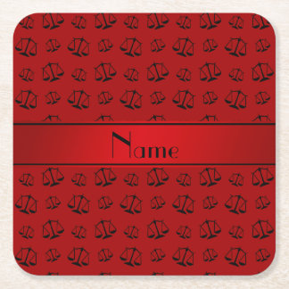 Personalized name red justice scales square paper coaster