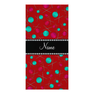 Personalized name red knitting pattern personalized photo card