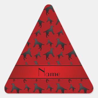 Personalized name red Labrador Retriever dogs Triangle Sticker