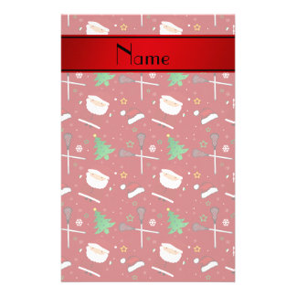 Personalized name red lacrosse christmas pattern customized stationery