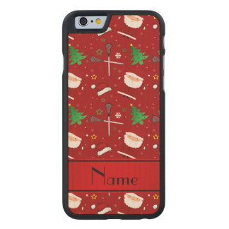 Personalized name red lacrosse christmas pattern carved® maple iPhone 6 slim case