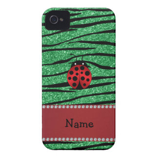Personalized name red ladybug green zebra stripes Case-Mate iPhone 4 cases