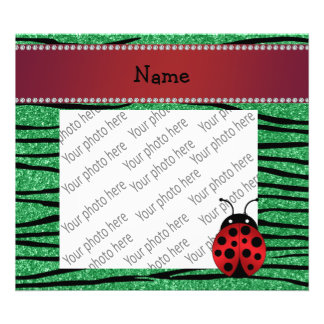 Personalized name red ladybug green zebra stripes photographic print