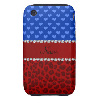Personalized name red leopard blue hearts tough iPhone 3 case