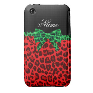 Personalized name red leopard print green bow iPhone 3 Case-Mate case