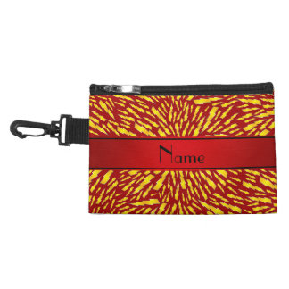 Personalized name red lightning bolts accessory bag