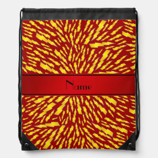 Personalized name red lightning bolts drawstring backpacks