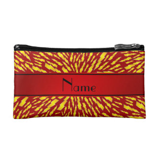 Personalized name red lightning bolts cosmetic bag