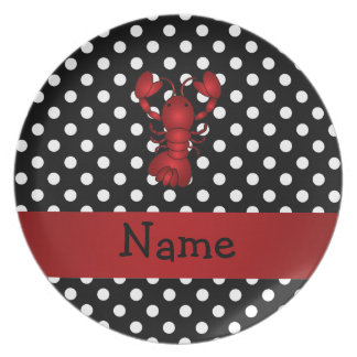 Personalized name red lobster black white polka do plates
