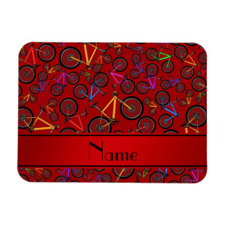 Personalized name red mountain bikes rectangular magnets