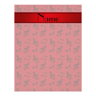 Personalized name red music notes 21.5 cm x 28 cm flyer