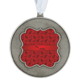 Personalized name red music notes scalloped ornament