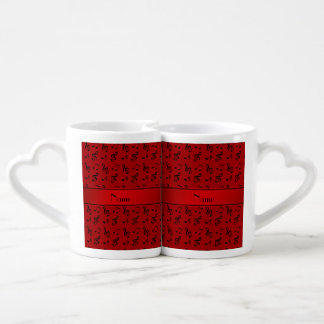 Personalized name red music notes couple mugs