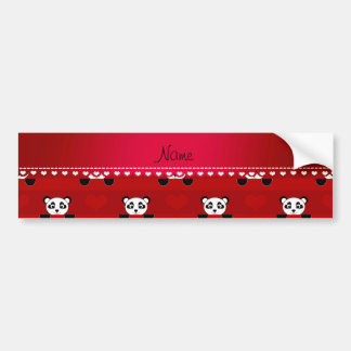 Personalized name red panda red heart stripes bumper sticker