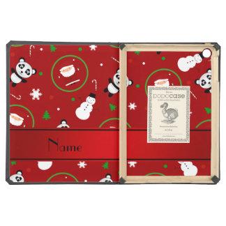 Personalized name red panda santas christmas iPad air cover