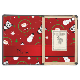 Personalized name red panda santas christmas iPad air covers