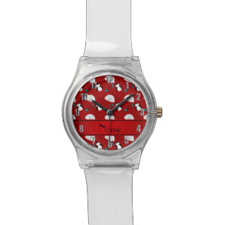 Personalized name red penguins igloo fish squid wristwatch
