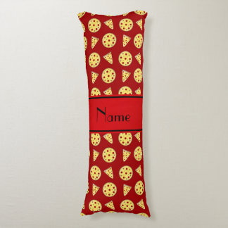 Personalized name red pizzas body cushion