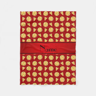 Personalized name red pizzas fleece blanket
